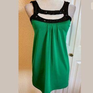 ING Sleeveless Blouse Top Shirt Tunic Green Small